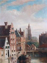dutch canal scenes (pair) by john frederik hulk the younger