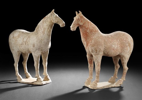 tomb figures of war horses by anonymous chinese tang dynasty