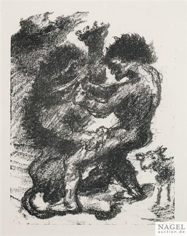davids kampf mit dem löwen kain landschaft achior am baume hängend 4 works by lovis corinth