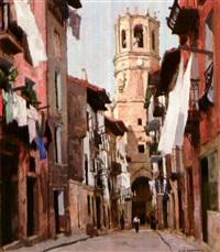 la calle mayor, à guetaria by francois maurice roganeau
