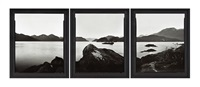 north east point - indian island - tamatea - dusky sound. after william hodges a view in dusky bay, new zealand - 76 (triptych) by mark adams
