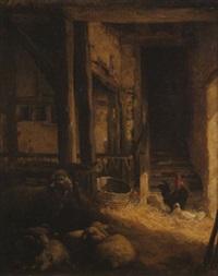 moutons, coq et poule by edouard pils
