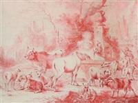 schafherde mit pferd und stier bei einem brunnen by philipp peter roos