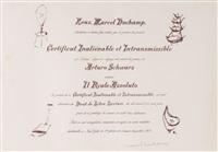 certificate de lecture by marcel duchamp