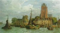 a view of dordrecht with tjalken moored along the quay by fedor poppe