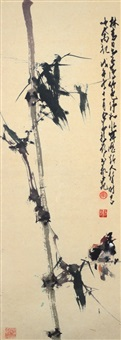 bird on bamboo tree by zhao shaoang