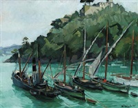 vessels at anchor in a cove by h. c. baumholdt