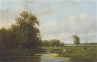 an extensive polder landscape in summer by willem vester