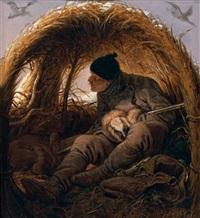 chasseur à la hutte by peter heinrich lambert von hess
