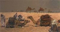 a camel caravan in the desert by erich wolfsfeld