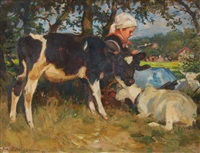 a young girl under a tree with a calf and goats by julius paul junghanns