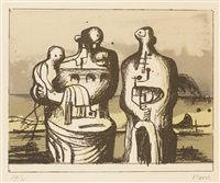 group in industrial landscape (c. 418) by henry moore