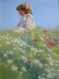 girl in a field of daisies by dianne flynn