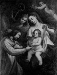 madonna mit dem jesuskind, zwei engel und links vor ein bischof (der heilige augustinus?) by johann mathias kager