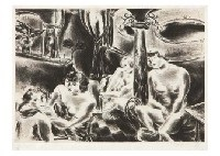 four nudes (cafe on the boulevard clichy) by yasuo kuniyoshi