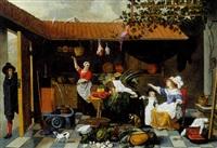 les préparatifs du repas dans la cour d'une maison hollandaise by sybrand van beest