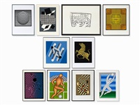 collection of 10 serigraphs by victor vasarely