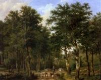 paysage de forêt avec un berger et son troupeau by johannes coucke