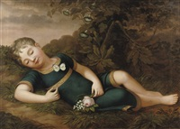 a sleeping child on a forest floor by philipp otto runge