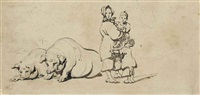 a chinese woman and children with two pigs by george chinnery