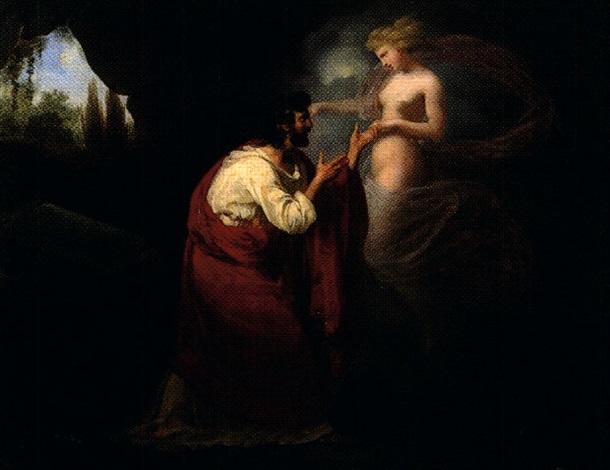 le poète et sa muse offrande à athéna pair by louis charles auguste couder
