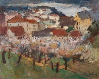 spring landscape, rooftops in an alpine landscape by oscar van young
