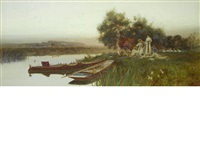 a summer picnic beside a river by thomas james lloyd