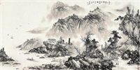 抱琴看鹤 (landscape) by liu guang
