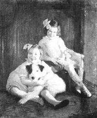 portrait of two girls and their dog by lydia field emmet