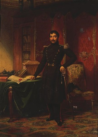a military officer in a study with documents and books on a table by louis charles auguste couder