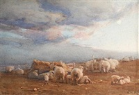sheep in a landscape by ernest gabriel mitchell