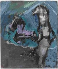 stelzenmensch. ohne titel (mädchen mit pferd) (2 works) by siegfried anzinger