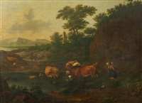 drovers with their herd in a river landscape by nicolaes berchem