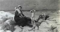 baigneurs sur la plage, d'apres virginie demont-breton by l. e. jardon