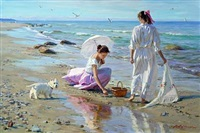 two girls gathering amber on the beach by aleksandr averin