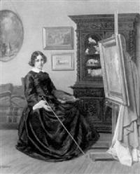 jeune femme peintre dans son atelier by a. d' aussy