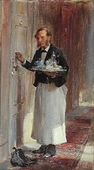 waiter with a tray is knocking on the door by otto bache
