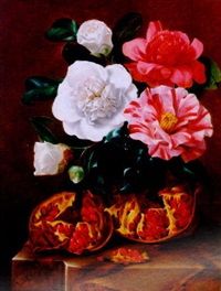 still life of flowers and a pomegranate on a marble ledge by johan carl smirsch