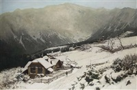 winter im gebirgshof by carl julius e. ludwig