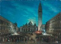 carnaval au clair de lune sur la place saint marc, venise by calle leone