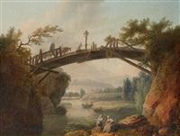 lavandières sous un pont de bois by hubert robert