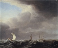 fishing pinks running in line before a stiff breeze towards a distant man o'war at anchor by arnoldus van anthonissen
