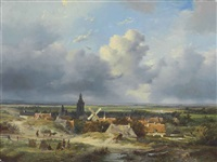 summer in holland: a panoramic view of a village in the dunes by andreas schelfhout
