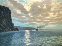 steamship and sailing ship off a rocky coastline by conrad hans selmyhr
