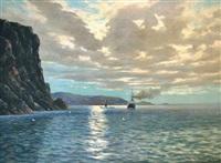 steamship and sailing ship off a rocky coastline by conrad hans selmyhr