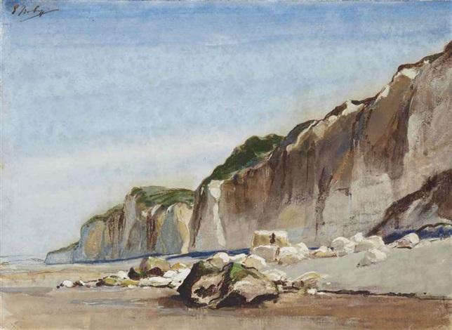 la plage à marée basse des falaises à larrière plan by louis gabriel eugène isabey