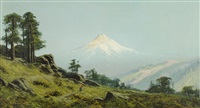 mount shasta from the east with a native american woman on a path and two teepees in the middle ground by william weaver armstrong