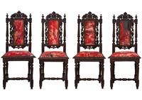 紅石頭系列胡桃木雕刻高背椅四件套組 (red rock series - walnut high back chair) (set of 4) by zhou chunya