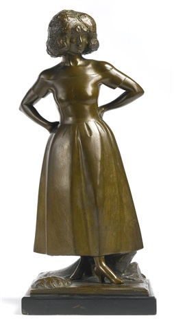 portrait statuette of mrs b hartman girl with bobbed hair by gaston lachaise
