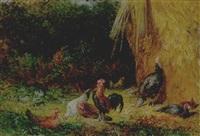 chickens and turkeys at a hayrick by philip burnham hicken